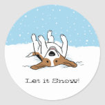 El beagle lo dejó nevar pegatina redonda