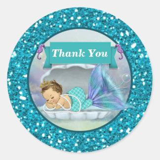 El bebé adorable de la sirena le agradece los pegatina redonda