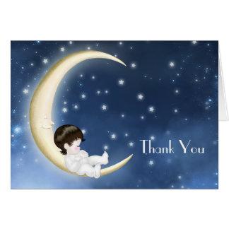 El bebé amarillo azul de la luna le agradece las tarjeta pequeña