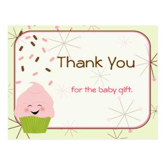 El bebé asperja al fiesta le agradece en rosa tarjetas postales