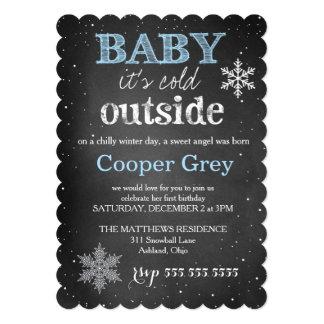 """El bebé azul 311 es cumpleaños exterior frío del invitación 5"""" x 7"""""""