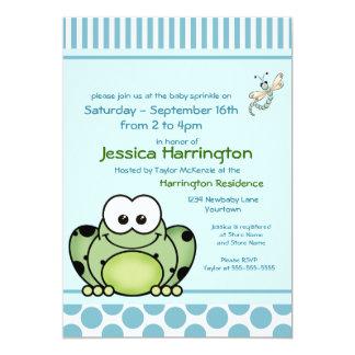 El bebé azul de la rana de Cutie asperja Invitación 12,7 X 17,8 Cm