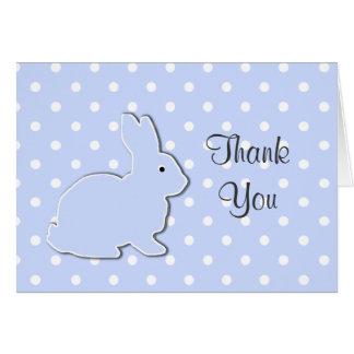 El bebé azul del conejito le agradece tarjeta de n