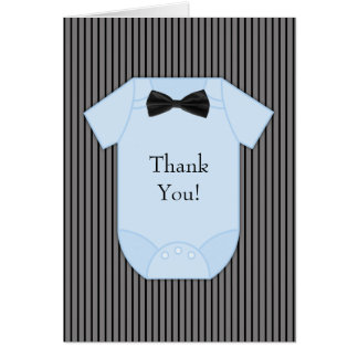 El bebé azul negro de la tela a rayas le agradece  tarjetas