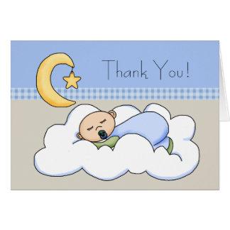 El bebé beige azul de la nube del bebé le agradece tarjeta pequeña