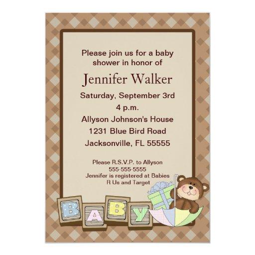 """El bebé bloquea la fiesta de bienvenida al bebé - invitación 5"""" x 7"""""""