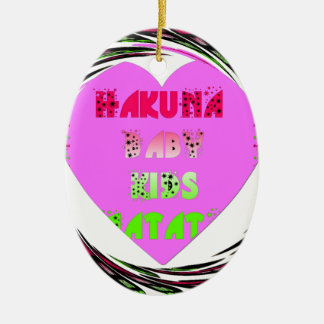 El bebé de Hakuna Matata de los corazones de los Adorno Ovalado De Cerámica