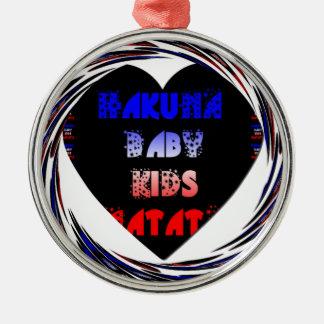El bebé de Hakuna Matata del negro azul embroma Adorno Redondo Plateado