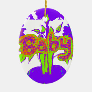 El bebé de Hakuna Matata embroma plant.png púrpura Adorno Ovalado De Cerámica