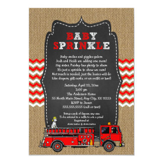 """El bebé del coche de bomberos asperja invitación 5"""" x 7"""""""