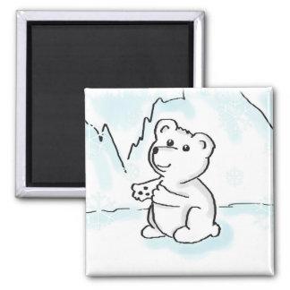 El bebé del oso polar del dibujo animado necesita imán cuadrado
