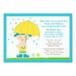 El bebé del paraguas asperja el azul de la ducha invitación 12,7 x 17,8 cm