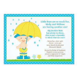 """El bebé del paraguas asperja el azul de la ducha invitación 5"""" x 7"""""""