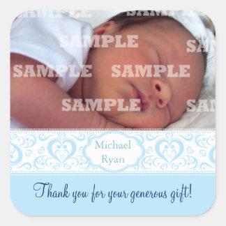 El bebé dulce de la banda azul le agradece los pegatina cuadrada