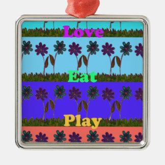 El bebé embroma el juego colors.png del amor adorno cuadrado plateado