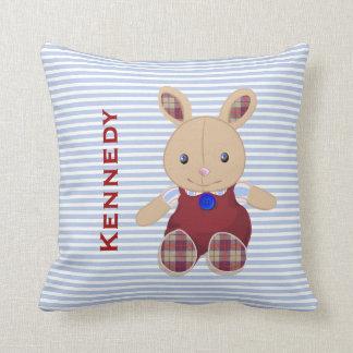 El bebé embroma el monograma personalizado conejo cojines