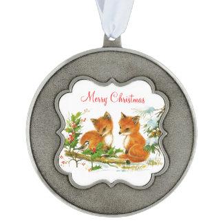 El bebé Foxes acebo y el pájaro en navidad del