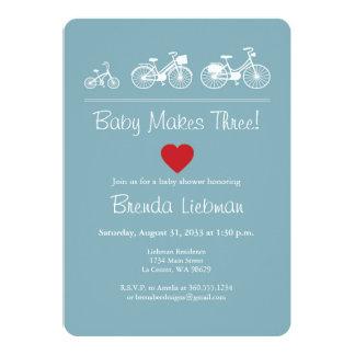 """¡El bebé hace tres! Bicicleta Invitación 5"""" X 7"""""""