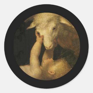 El bebé Jesús toca el cordero Pegatina Redonda