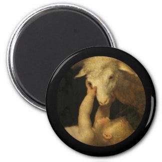El bebé Jesús toca la cara del cordero Imán Redondo 5 Cm