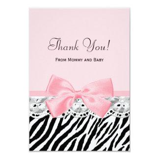 """El bebé le agradece estampado de zebra rosado de invitación 3.5"""" x 5"""""""