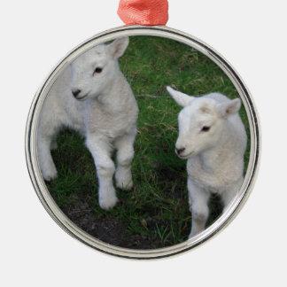 El bebé lindo del rancho de la granja hermana el adorno redondo plateado