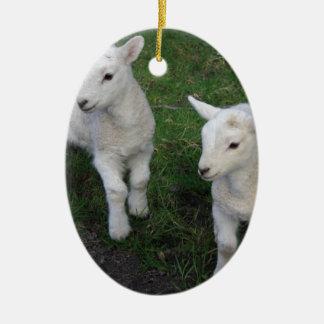 El bebé lindo del rancho de la granja hermana el adorno ovalado de cerámica