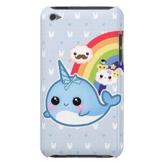 El bebé lindo narwhal con el arco iris y el kawaii barely there iPod funda