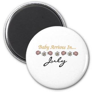 El bebé llega en julio imán redondo 5 cm