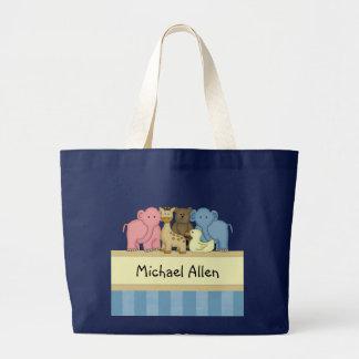 El bebé o el niño del muchacho personalizó el tote bolsa de tela grande