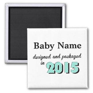 El bebé personalizado diseñó y empaquetó 2015 imán cuadrado