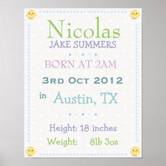 El bebé personalizó la fecha de nacimiento la impr póster