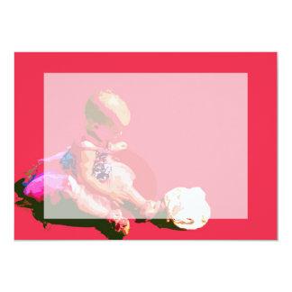 """el bebé que sentaba y que jugaba pascua rosada invitación 5"""" x 7"""""""