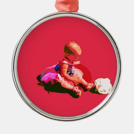 el bebé que sentaba y que jugaba pascua rosada pos ornamento para reyes magos
