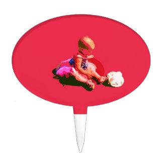 el bebé que sentaba y que jugaba pascua rosada pos figura para tarta