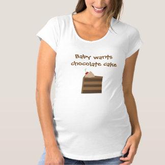 El bebé quiere la torta de chocolate playera de premamá