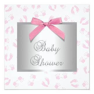 """El bebé rosado da la ducha de la niña de los pies invitación 5.25"""" x 5.25"""""""