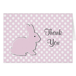 El bebé rosado del conejito le agradece tarjeta de