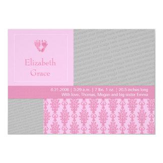 El bebé rosado minúsculo imprime la invitación del invitación 12,7 x 17,8 cm
