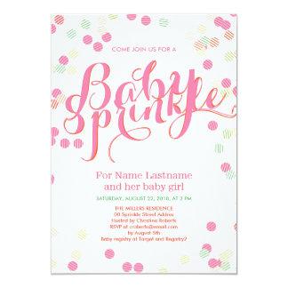"""El bebé rosado moderno colorido del chica asperja invitación 5"""" x 7"""""""