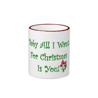 El bebé todo lo que quiero para el navidad es taza de dos colores