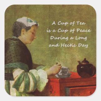 El bebedor 1735 del té pegatina cuadrada