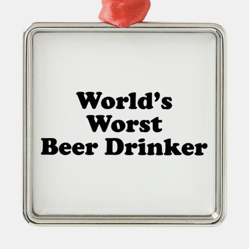El bebedor de la cerveza peor del mundo adorno navideño cuadrado de metal