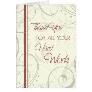El beige remolina tarjeta del aprecio del empleado