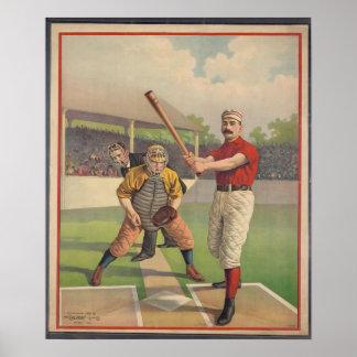 El béisbol americano, vintage 1895 enmarcó la impr póster