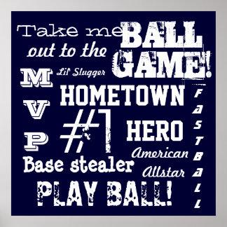 El béisbol azul del sitio del muchacho se divierte impresiones