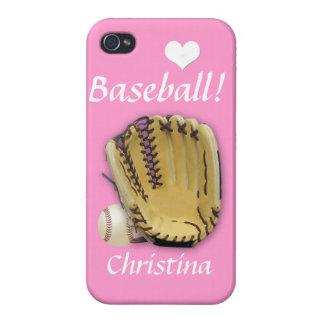 El Béisbol-Béisbol del corazón y Mitón-Rosado/pers iPhone 4 Carcasas