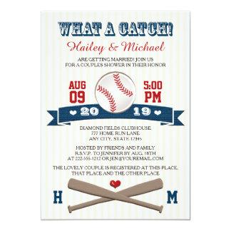"""El béisbol con monograma junta la ducha del boda invitación 5"""" x 7"""""""