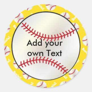 El béisbol con un fondo amarillo el | personaliza pegatina redonda
