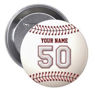 El béisbol cose el jugador número 50 y el nombre d pins